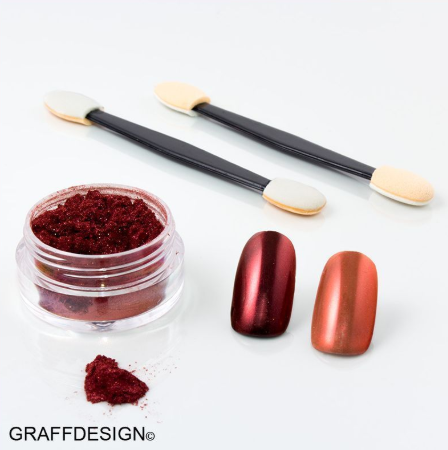 Nailart Chrome Puder in Rot - ca. 4 ml incl. 2 Applikatoren - 1010-005