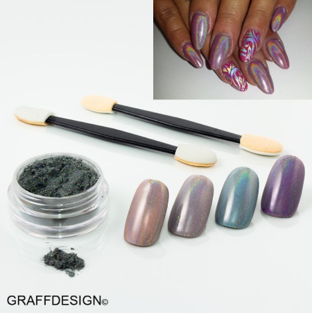 Nailart Hologramm Chrome Puder - ca. 2 ml incl. 2 Applikatoren - 1010-000