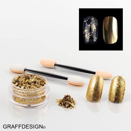 Nailart Puder Flakes - in Gold - ca. 3 ml incl. 2 Applikatoren - 1010-508