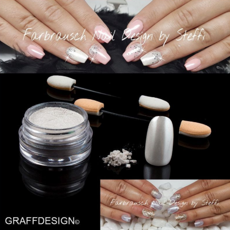Nailart Puder - Chrome Pigment White Ice - ca. 3 ml incl. 2 Applikatoren - 1010-701