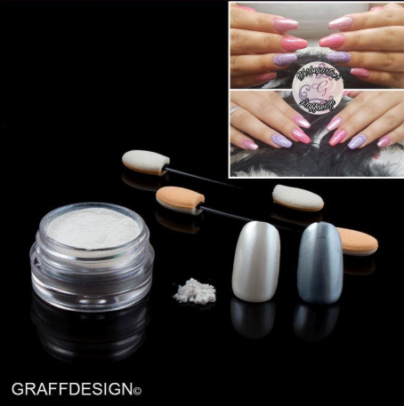 Nailart Puder - Chrome Pigment White Silver - ca. 3 ml incl. 2 Applikatoren - 1010-702
