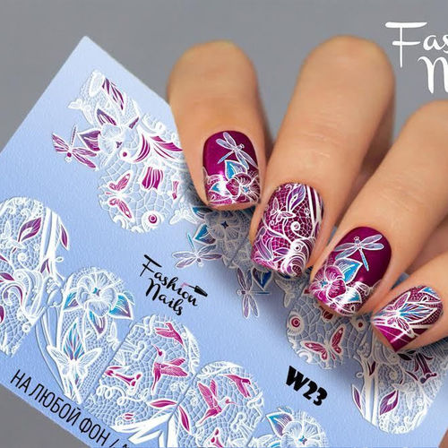 Nail Wraps - Tattoo - Sticker - im Weiss Design - 702-W-W23