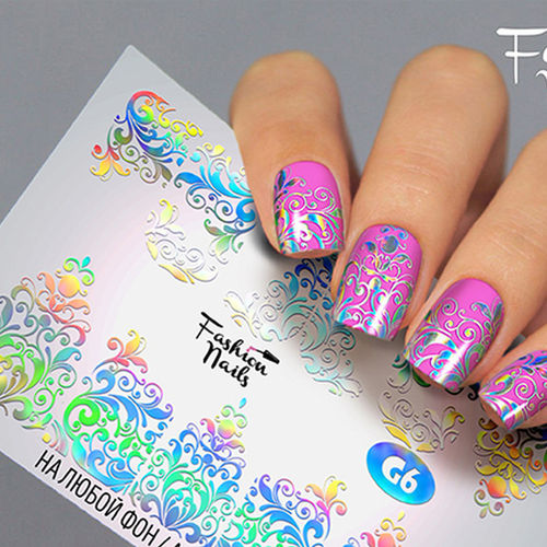 Nail Wraps - Tattoo - Sticker - im Galaxy Design - Silber holo - 702-G-G6