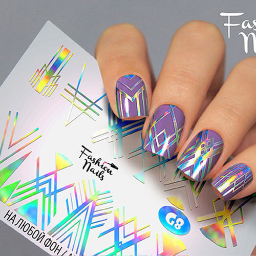Nail Wraps - Tattoo - Sticker - im Galaxy Design - Silber holo - 702-G-G8