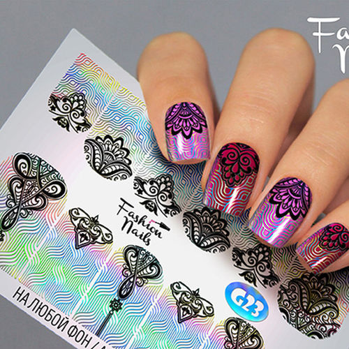 Nail Wraps - Tattoo - Sticker - im Galaxy Design - Silber holo - 702-G-G23