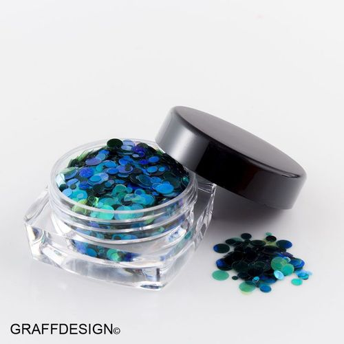 1x Glitter-Glitzer-Pailletten-Mix - Mermaid Pailletten - irisierend - bis 2,5 mm - 2300-041