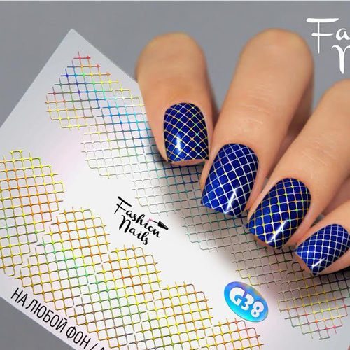 Nail Wraps - Tattoo - Sticker - im Galaxy Design - Silber/Gold holo - 702-G-G38