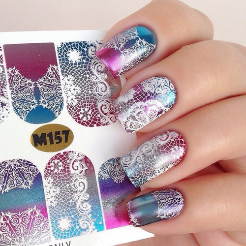 Nail Wraps - Tattoo - Sticker - im Metallic Design - 702-M-M157