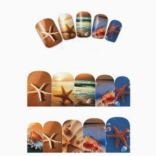 Sticker / Tattoo / One Stroke / Wraps - Sonne / Strand / Meer / Muscheln - 702-BN-863