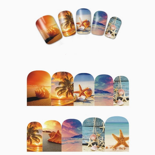 Sticker / Tattoo / One Stroke / Wraps - Sonne / Strand / Meer / Muscheln - 702-BN-864
