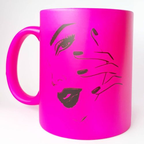Tasse - in Neon Pink - Gesicht - 330 ml - 209-012