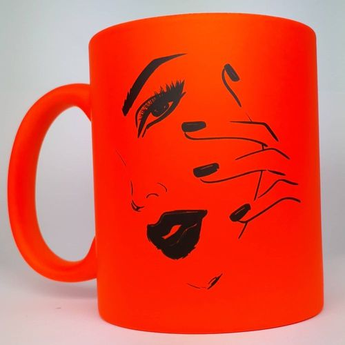 Tasse - in Neon Orange - Gesicht - 330 ml - 209-013