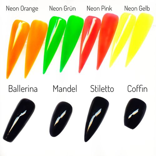 20x Press on Nails - in Neon - Fullcovernails - Press on - PNF-001