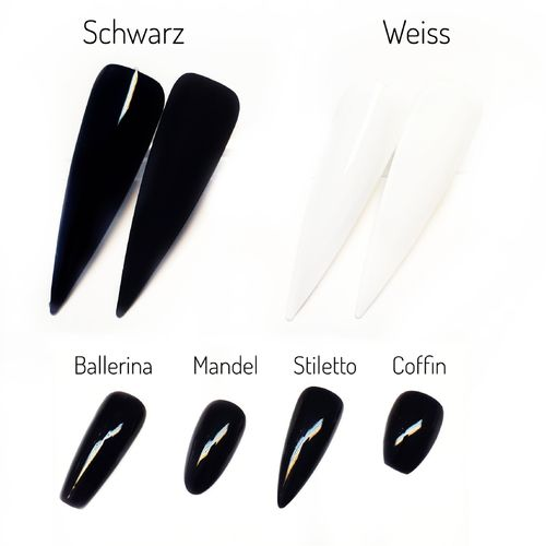 Press on Nails in Pur Schwarz oder Weiß - Fullcovernails - Press on - PNF-003