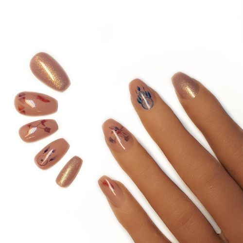 10x Press on Nails - Coffin - Fullcovernails - Boho Style - PN-026