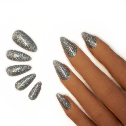 10x Press on Nails - Mandel - Fullcovernails - Silber Glitter Hologramm - PN-029