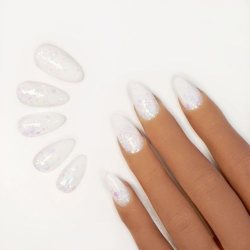 10x Press on Nails - Mandel - Fullcovernails - Weiss mit Pailetten-Glitzer-Mix - PN-032