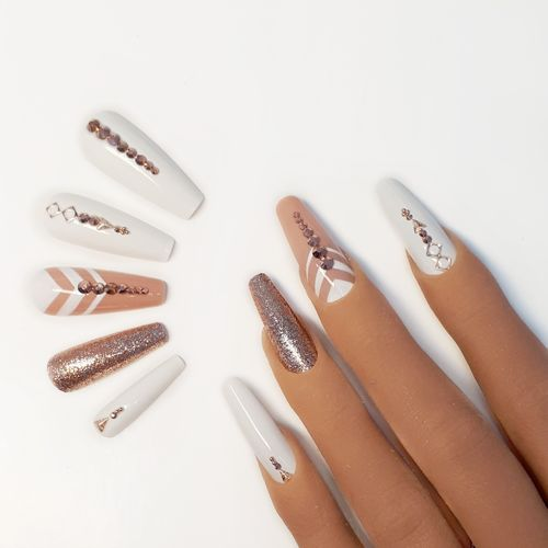 10x Press on Nails - Ballerina - Fullcovernails - Weiß mit Rosegold - PN-034