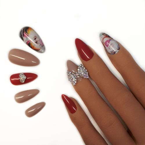 10x Press on Nails - Mandel - Fullcovernails - Ruby Red mit Gesicht und 3D Schleife - PN-036