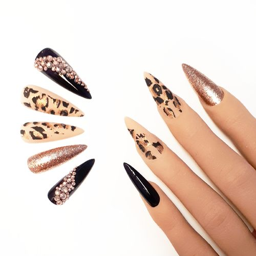 10x Press on Nails - Stiletto - Fullcovernails - Leo Print mit Rosegoldenem Strass - PN-038