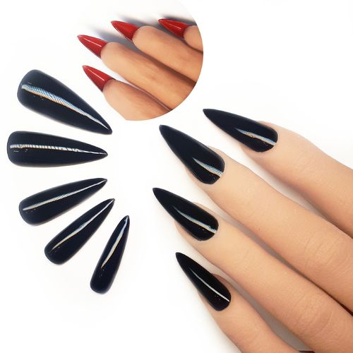 10x Press on Nails - Stiletto - Fullcovernails - Schwarz mit Rot - PN-043