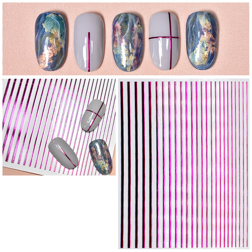 Flexible Stripes in Metallic-Look - Pink - selbstklebend - 703-stripes-pink