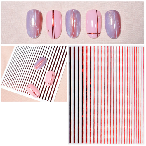 Flexible Stripes in Metallic-Look - Rot - selbstklebend - 703-stripes-rot