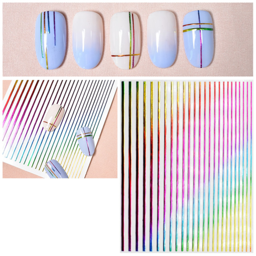 Flexible Stripes in Metallic-Look - Regenbogen - Rainbow - Bunt - selbstklebend - 703-stripes-bunt