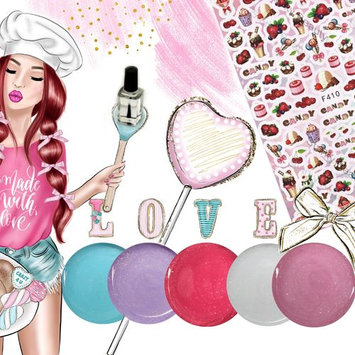 Kreativset Nummer 203 - Sugar - Cupcake - Farbgel - Sticker - Nailtattoos - KS-203